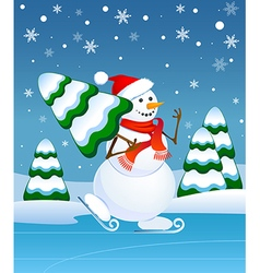 Snowman skating vector image vector image
