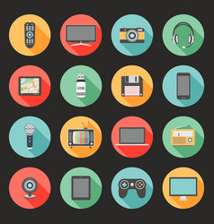 technology flat design icons set vector image