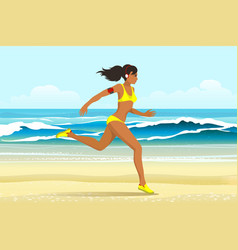 the girl run on the beach vector image vector image