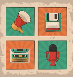 Vintage microphone cassette floppy megaphone retro vector