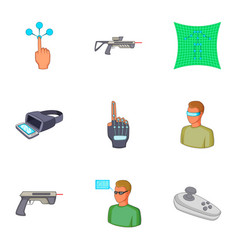 Vr interface icons set cartoon style vector