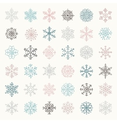 Colorful winter snow flakes doodles vector