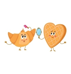 Funny waffle wafer and croissant characters doing vector