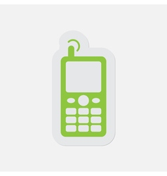 simple green icon - old mobile phone with antenna vector image