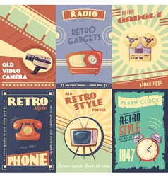 Retro gadgets cartoon posters vector