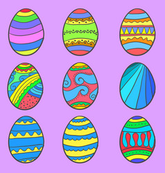 Set of easter egg style vector