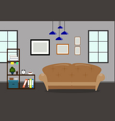 Living room interior with sofabookcase and vector