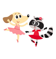 Dog and raccoon puppy and kitten characters vector