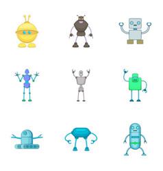Robot icons set cartoon style vector