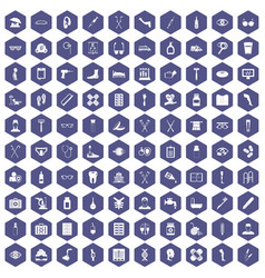 100 disabled healthcare icons hexagon purple vector