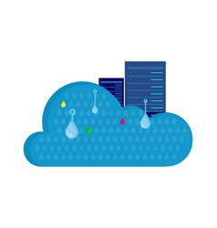 Cloud storage design flat concept saving info vector