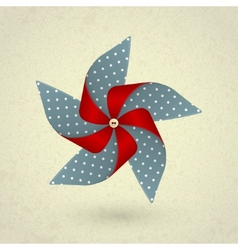 Vintage handmade red and blue pinwheel with dots vector image