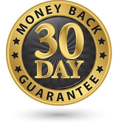 30 day money back guarantee golden sign vector