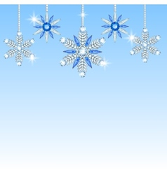Diamond hanging snowflakes vector