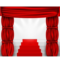 Silk curtain with columns and stairs to the podium vector