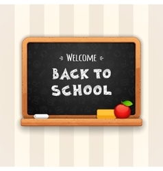 Welcome back to school written on blackboard vector