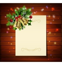Christmas background on wood vector