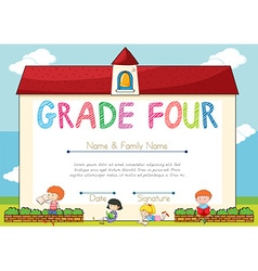 Diploma template for grade four students vector