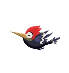 Cute crazy woodpecker vector