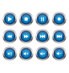 Blue multimedia buttons vector