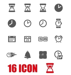Grey time icon set vector
