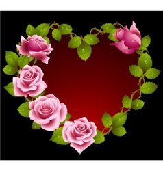 Framework from pink roses vector