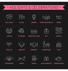 Holidays and celebrations Linear White and pink vector image