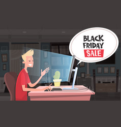 black friday sale chat bubble over man sitting at vector image vector image