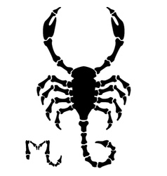 black scorpio sign vector image vector image