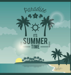 Blue color poster seaside with logo text paradise vector