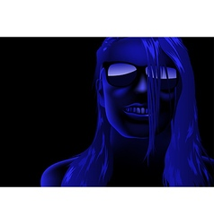 Blue female face vector