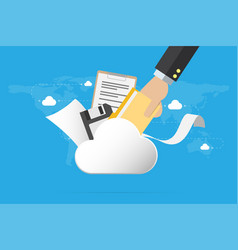Business hand insert document into the cloud vector
