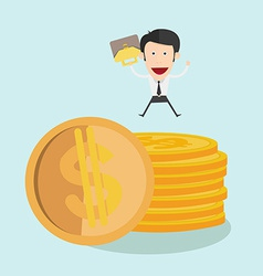 Businessman jump over coin stack vector image