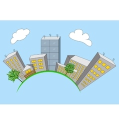 Cartoon city on global vector image vector image