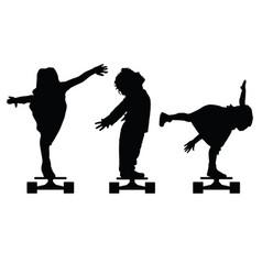 Children silhouette on skate set in black vector