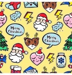 Christmas seamless pattern with cute comic icons vector