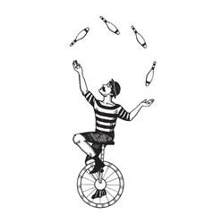 circus juggler engraving vector image