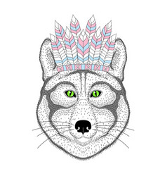 cute wolf portrait with war bonnet on head vector image vector image