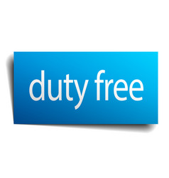 Duty free blue paper sign on white background vector