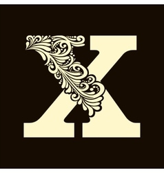 Elegant capital letter x in the style baroque vector