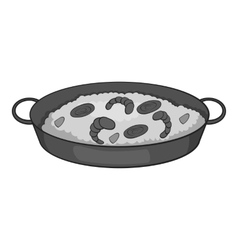 Frying pan with rice and shrimp icon vector