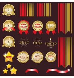 Gold label for present best of product vector image