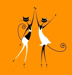 Graceful cats dancing for your design vector image