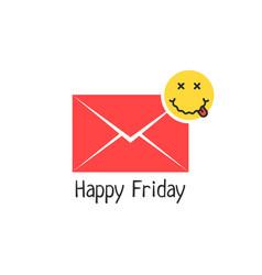 Happy friday message with drunk emoji vector