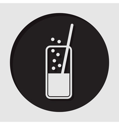 icon - glass with carbonated drink and straw vector image vector image