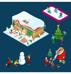 Isometric christmas decorated house vector