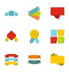 Label icons set flat style vector