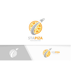 Pizza and rocket logo combination food and vector