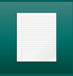 Realistic line paper note on green background vector
