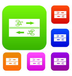 Road for cyclists set collection vector